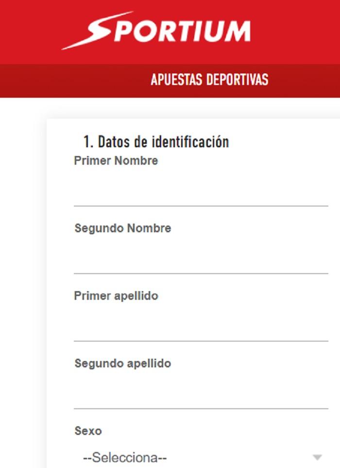 datos registro casino Sportium
