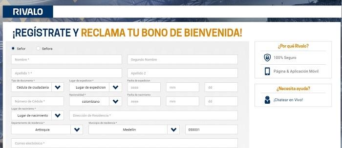 datos personales Rivalo Casino