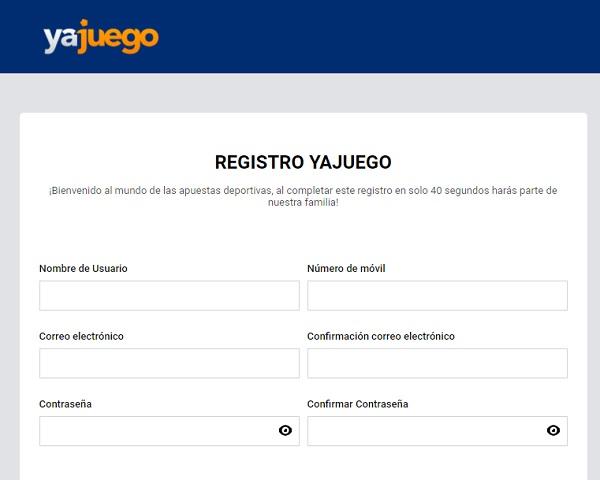 formulario de registro Yajuego